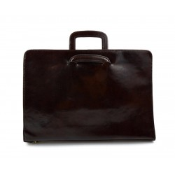 Leather folder A4 document file folder A4 leather zipped document retractable handles office folder dark brown