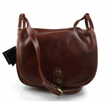 Ladies handbag hobo bag shoulder bag  crossbody bag made in Italy genuine leather satchel leather bag brown