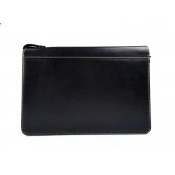 Leather folder A4 document file folder A4 black leather zipped document folder bag office folder document organiser