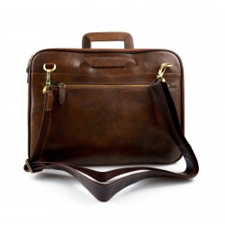 Leather folder A4 document file folder A4 brown leather zipped document folder bag with handles and shoulder strap