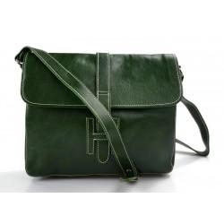 Cartella pelle messenger a tracolla postino borsa vera pelle uomo donna made in Italy verde