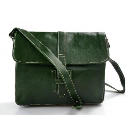 Leather hobo bag mens satchel messenger bag shoulder bag crossbody green