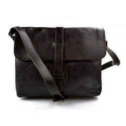 Leather hobo bag mens satchel bag shoulder bag crossbody dark brown