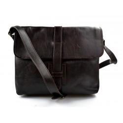 Sac cuir sac à bandoulière homme femme marron fonce sac d'épaule bandoulière