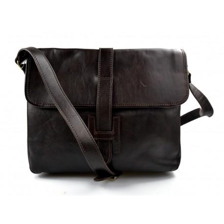 Leather hobo bag mens satchel bag shoulder bag crossbody dark brown
