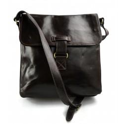 Sac bandoulière en cuir sac d'èpaule sac homme en cuir sac à bandoulière messenger marron fonce