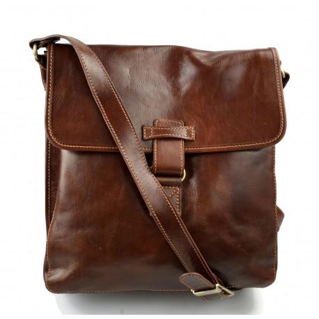 Borsello pelle marrone a tracolla uomo donna borsa tracolla in vera pelle hobo bag
