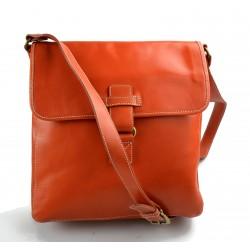 Borsello pelle arancione a tracolla uomo donna borsa tracolla in vera pelle hobo bag