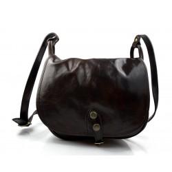 Bolsa de cuero de mujer marron oscuro made in Italy bandolera bolso de espalda bolso de piel