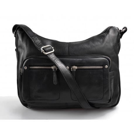 Ladies buffalo leather black handbag women purse
