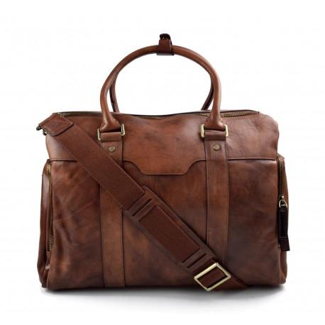 Leather notebook tablet bag mens ladies handbag shoulder bag brown