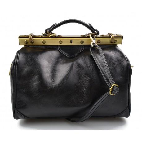 Ladies leather handbag doctor bag handheld shoulder bag black made in Italy genuine leather bag