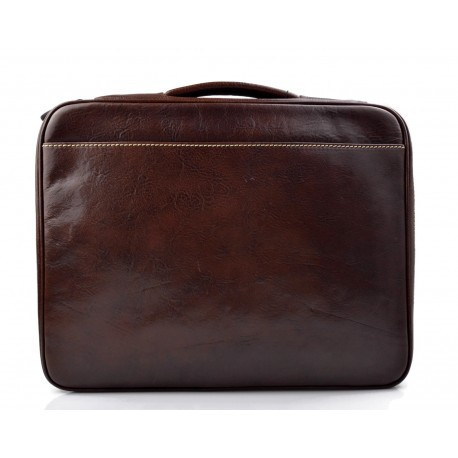 Leather folder document file folder A4 leather zipped folder bag brown