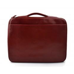 Leather folder document file folder A4 leather zipped folder bag red