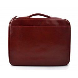 Maletin en piel cartera de cuero A4 bolso de cuero de hombre bolso de cuero de mujer rojo
