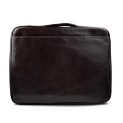 Leder dokument aktentasche herren made in Italy A4 leder handtasche  dunkelbraun