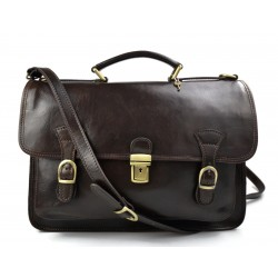 Briefcase leather office bag backpack shoulder bag conference bag mens business dark brown