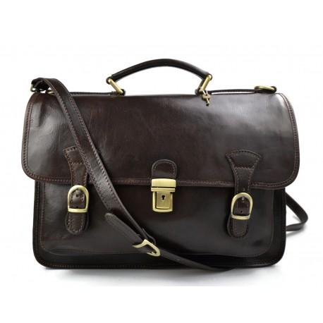 Briefcase leather office bag backpack shoulder bag conference bag mens business dark brown