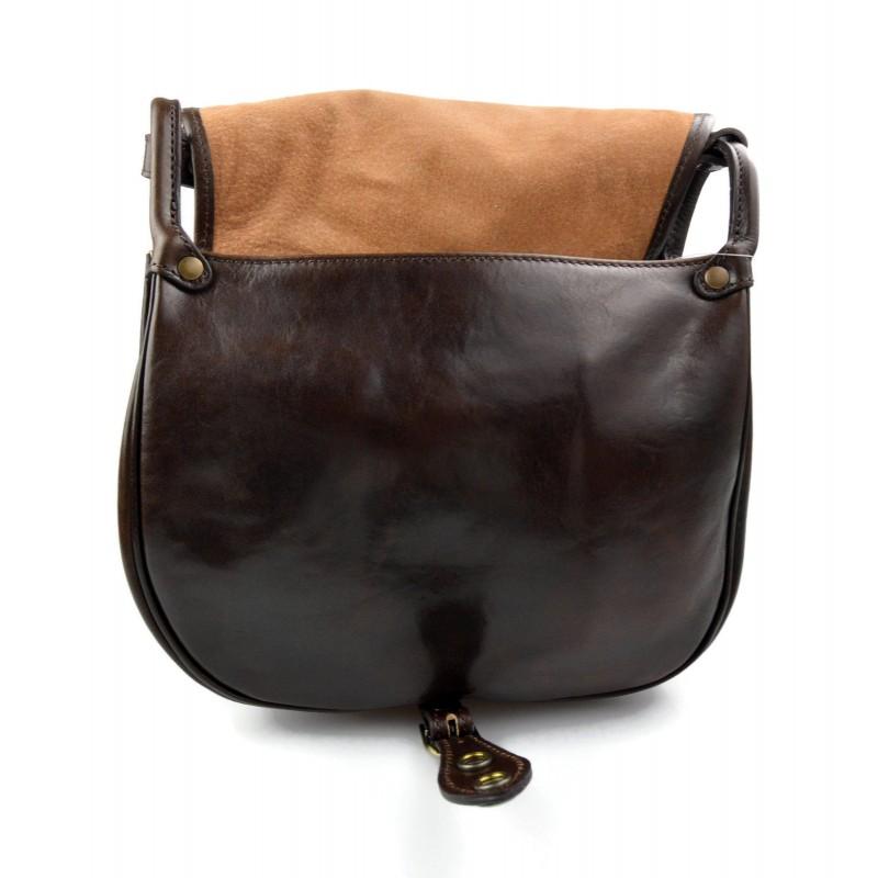 005463c68553f ... Bolsa de cuero de mujer marron oscuro made in Italy bandolera bolso de espalda  bolso de ...