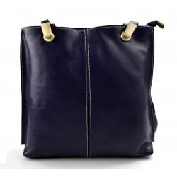 Ladies handbag blue leather bag clutch backpack crossbody women