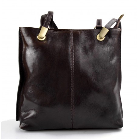 Ladies handbag dark brown leather bag clutch backpack crossbody women