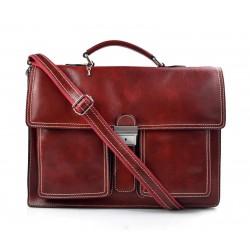 Sac serviette à main cuir mallette bandoulière en cuir sac en cuir rouge