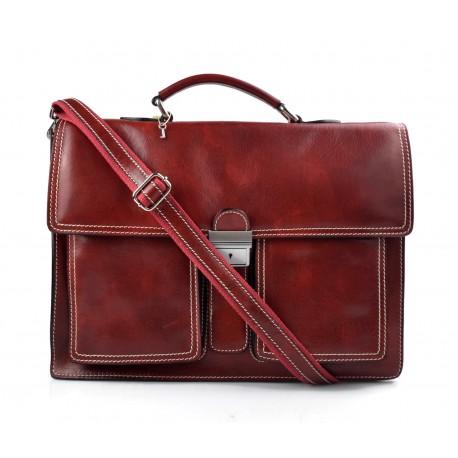Borsa uomo pelle cartella borsa valigetta pelle 24 ore rosso