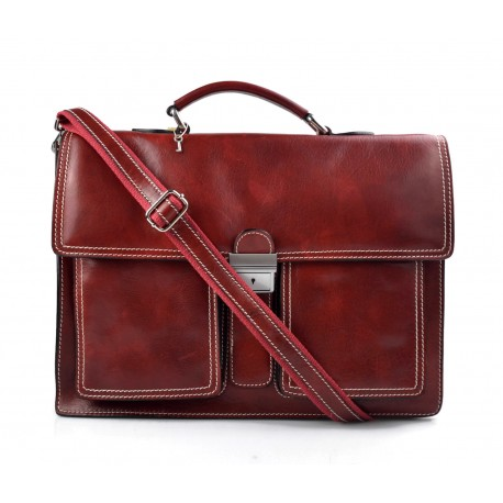Leather briefcase business bag conference bag satchel red