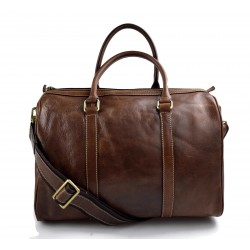 Brown duffle bag leather small duffle genuine leather travel bag