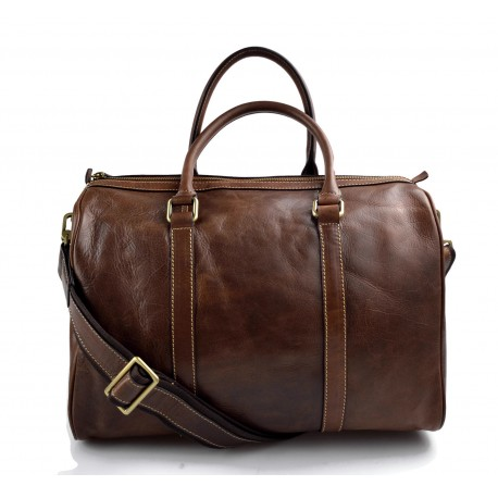 Bolsa de viaje pequeño bolsa cabina cuero bolso hombres mujeres marròn