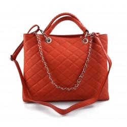Damen schultertasche koralle leder damen handtasche damen henkeltasche