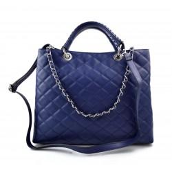 Leather women purse blue handbag leather shoulder bag leather shopper