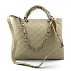 Leather women purse beige handbag leather shoulder bag leather shopper
