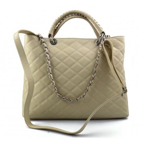 Borsa donna pelle a spalla e con manici borsa donna beige in pelle