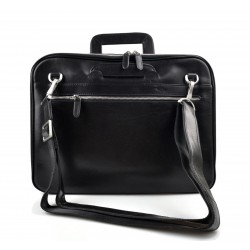 Leather folder A4 document file folder A4 black leather zipped document folder bag with handles and shoulder strap