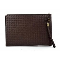 Leather carry all folder tablet folder document file folder braided weaved leather brown