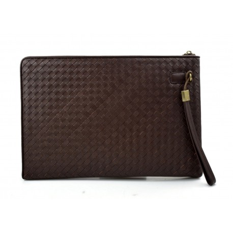 Leather carry all folder tablet folder document file folder braided weaved leather brown
