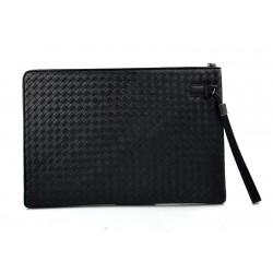 Cartella pelle portadocumenti pelle intrecciato porta tablet in pelle chiusura zip vera pelle nero