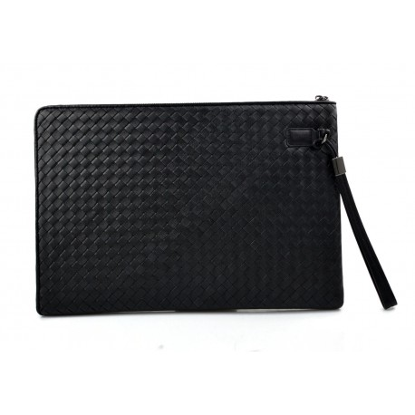 Leather carry all folder tablet folder document file folder braided weaved leather black