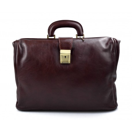 Doctor bag dark brown leather handbag men leather bag women briefcase