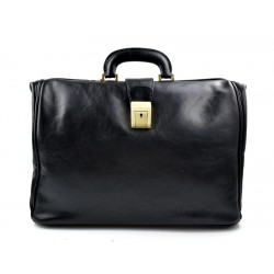 Doctor bag black leather handbag men leather bag women briefcase