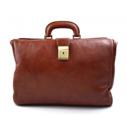 Doctor bag honey leather handbag men leather bag women briefcase