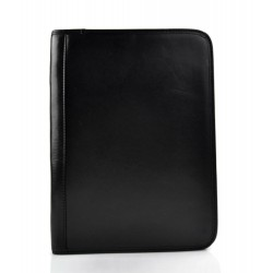 Leather folder office document folder A4 black leather zipped document