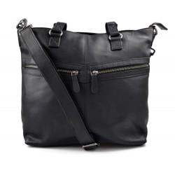 Ladies buffalo leather black handbag womens shoulder bag leather satchel