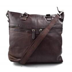 Leder damen handtasche ledertasche dunkelbraun henkeltasche