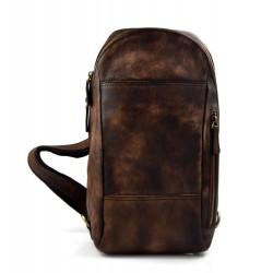Mens waist leather shoulder bag hobo bag travel back dark brown