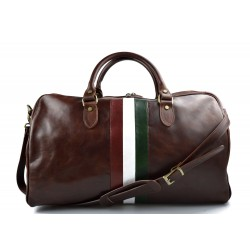 Leather travel bag duffle bag brown gym bag Italian flag weekender