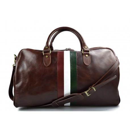 Borsone viaggio in pelle borsa viaggio bandiera Italiana marrone