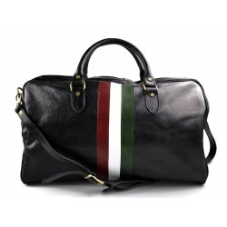 Leather travel bag duffle bag black gym bag Italian flag weekender