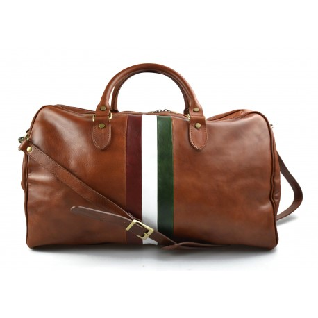 Leather travel bag duffle bag honey gym bag Italian flag weekender